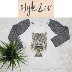 Style & Co. Sport Women's Owl Sweatshirt ~ Size SP